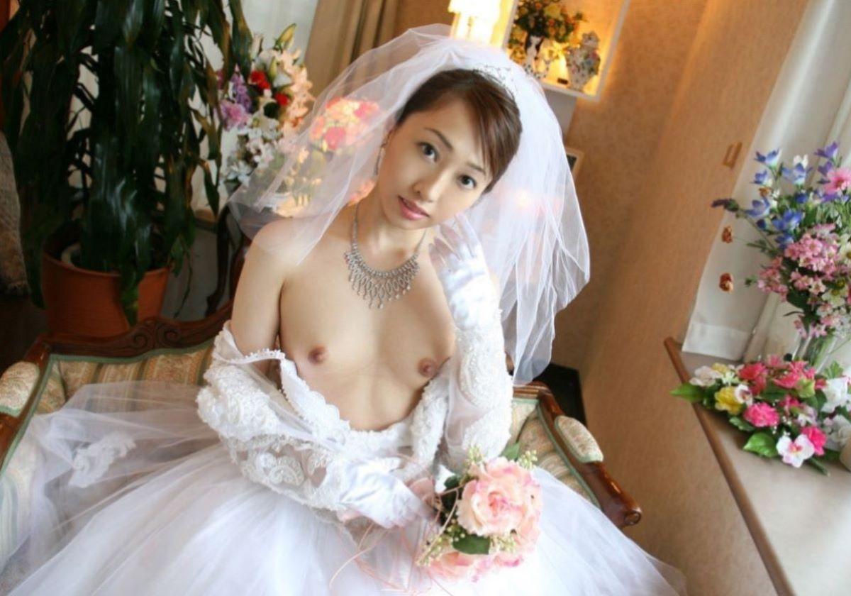 花嫁とウェディングドレスのエロ画像 13