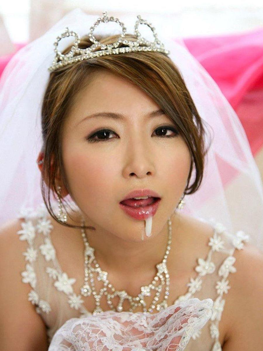花嫁とウェディングドレスのエロ画像 16