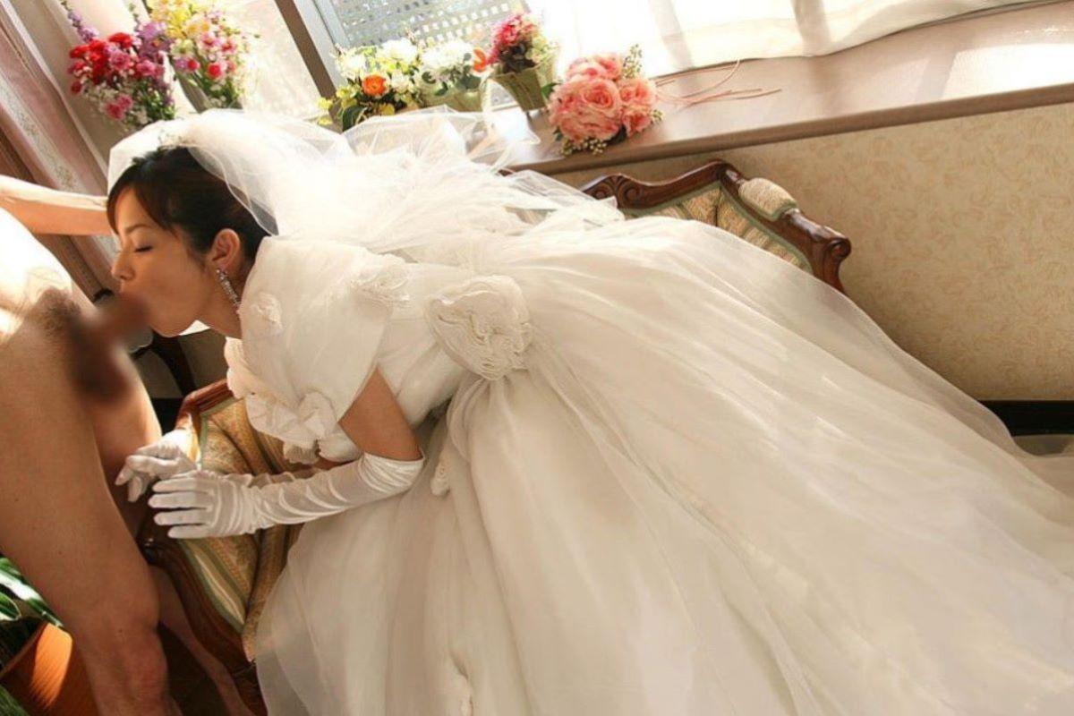 花嫁とウェディングドレスのエロ画像 34