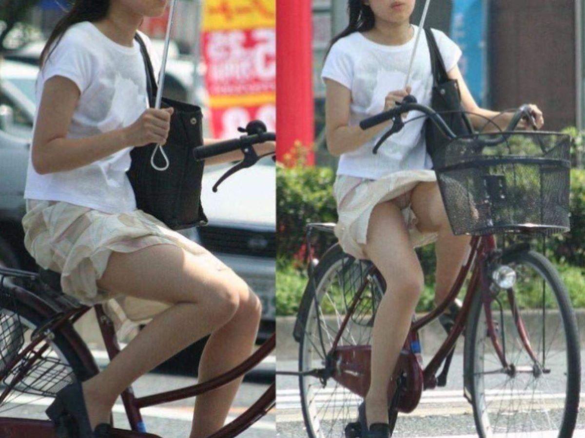 自転車のパンチラ画像 27
