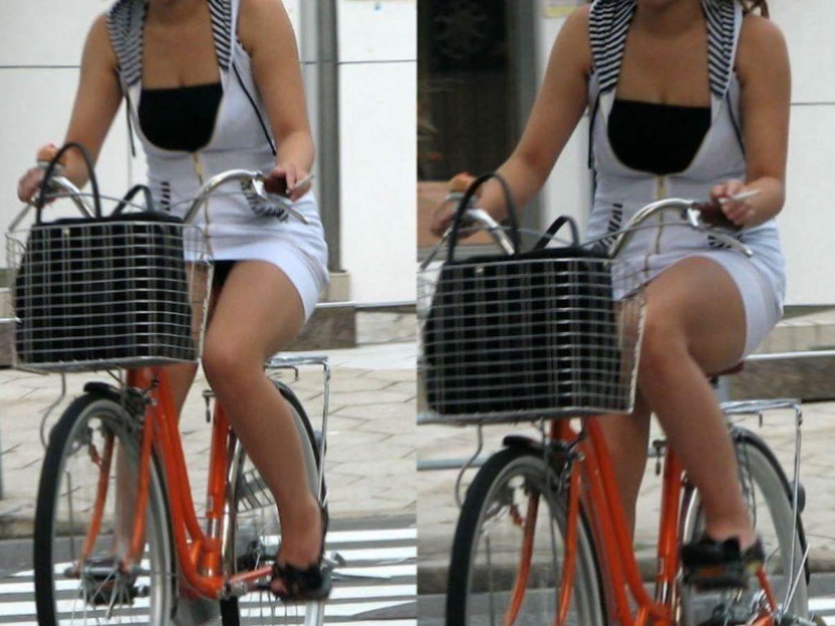 自転車のパンチラ画像 44