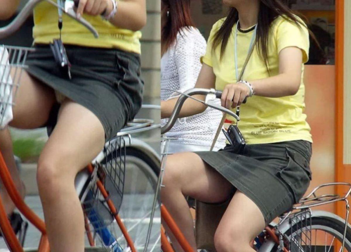 自転車のパンチラ画像 49