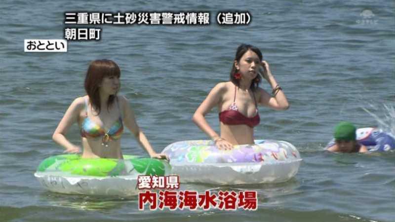 テレビに映ったビキニ素人の水着エロ画像 3