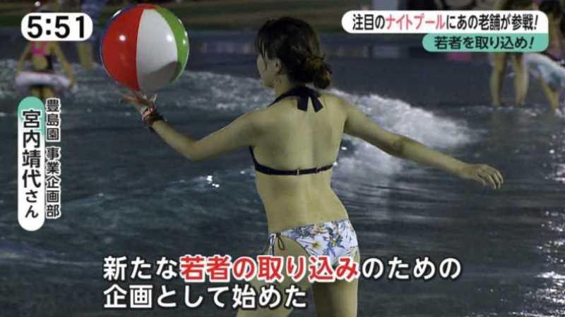 テレビに映ったビキニ素人の水着エロ画像 7