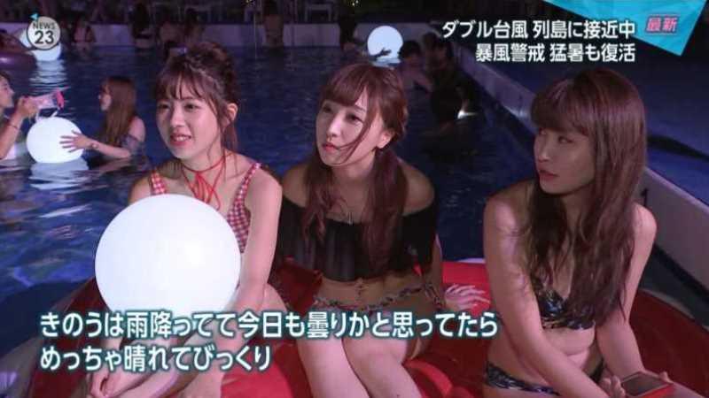 テレビに映ったビキニ素人の水着エロ画像 10