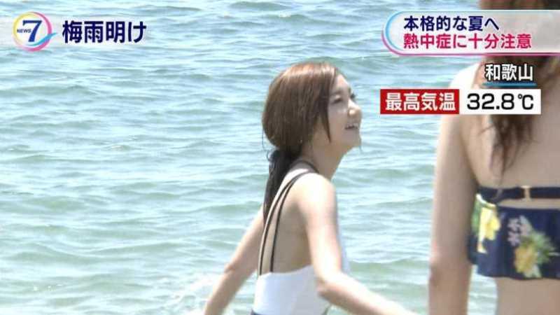 テレビに映ったビキニ素人の水着エロ画像 18