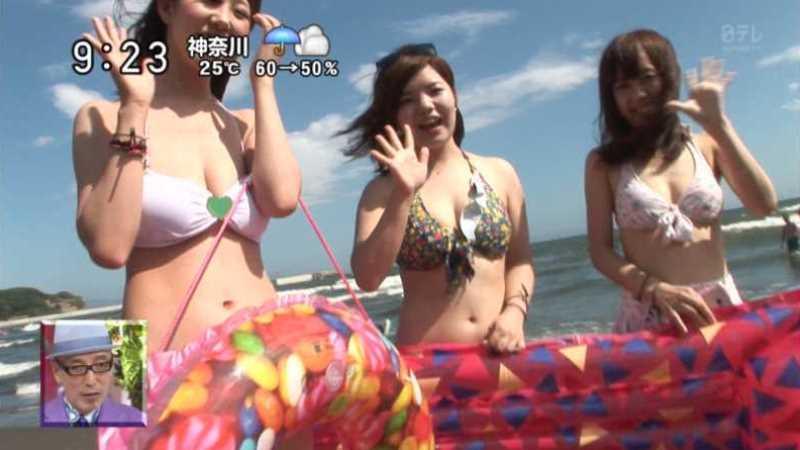 テレビに映ったビキニ素人の水着エロ画像 19