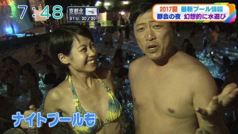 テレビに映ったビキニ素人の水着エロ画像 23