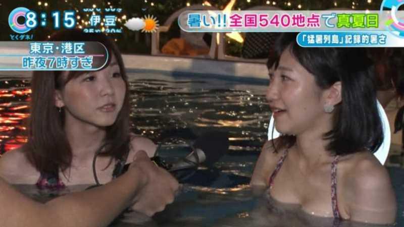テレビに映ったビキニ素人の水着エロ画像 28