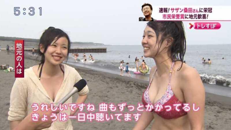 テレビに映ったビキニ素人の水着エロ画像 33