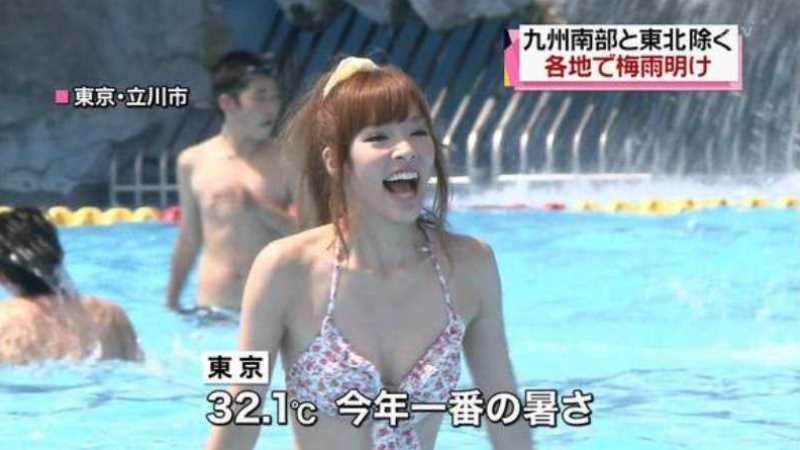テレビに映ったビキニ素人の水着エロ画像 45