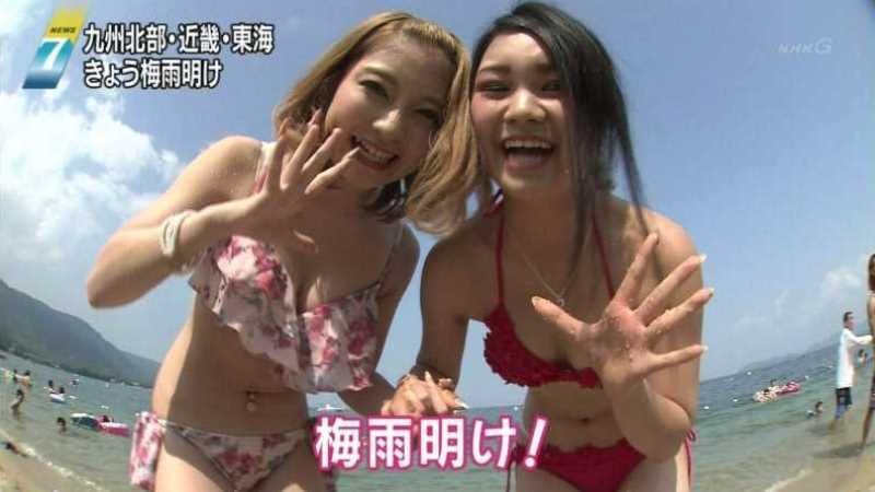 テレビに映ったビキニ素人の水着エロ画像 60