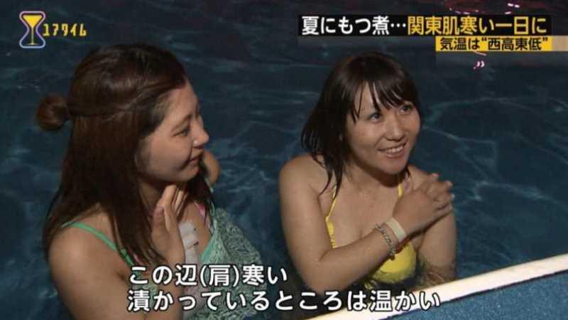 テレビに映ったビキニ素人の水着エロ画像 81