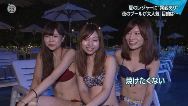 テレビに映ったビキニ素人の水着エロ画像 89