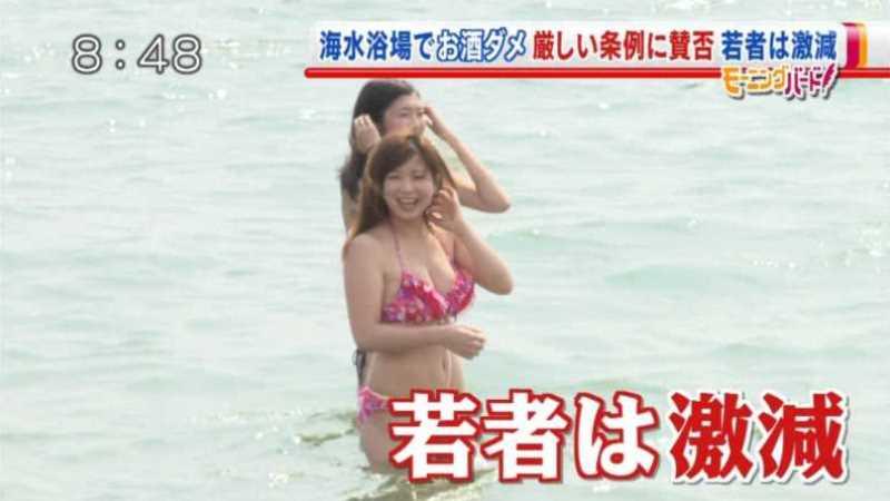 テレビに映ったビキニ素人の水着エロ画像 90