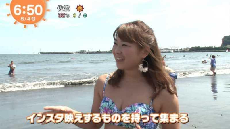 テレビに映ったビキニ素人の水着エロ画像 91