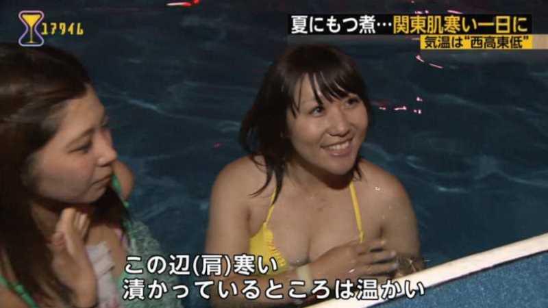 テレビに映ったビキニ素人の水着エロ画像 95