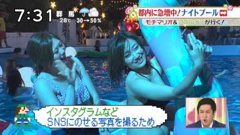 テレビに映ったビキニ素人の水着エロ画像 124