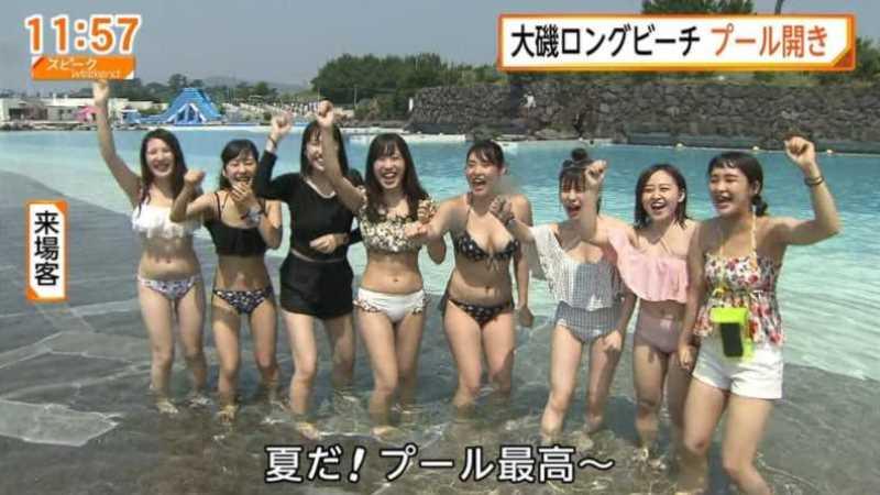 テレビに映ったビキニ素人の水着エロ画像 131