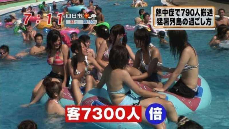テレビに映ったビキニ素人の水着エロ画像 151