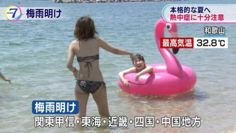 テレビに映ったビキニ素人の水着エロ画像 162