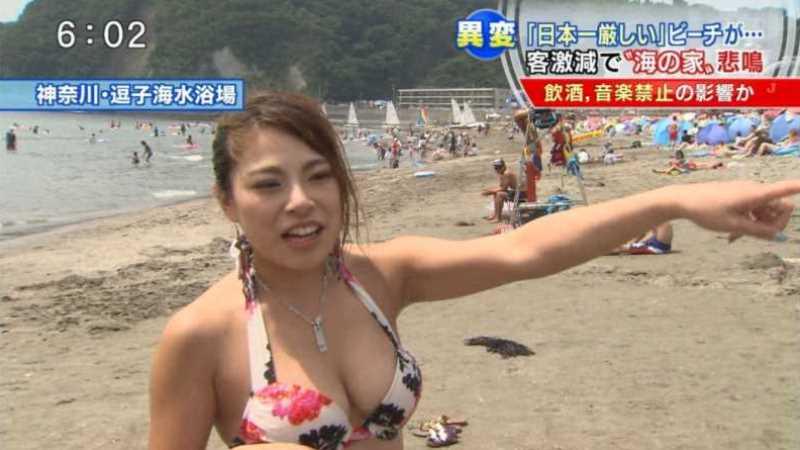 テレビに映ったビキニ素人の水着エロ画像 169