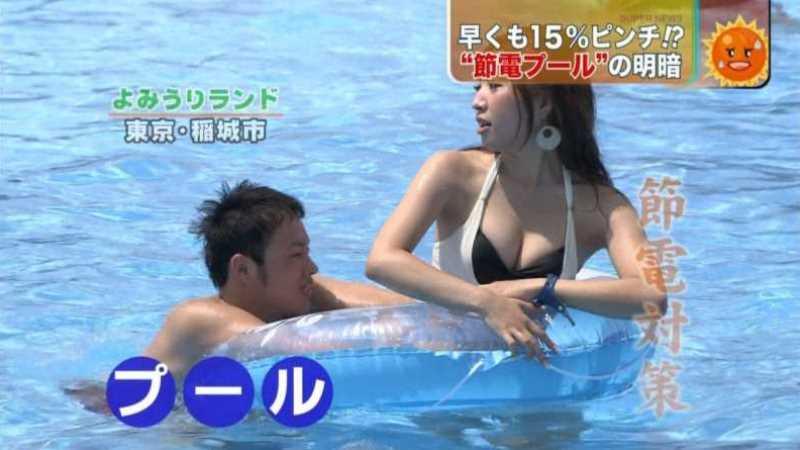 テレビに映ったビキニ素人の水着エロ画像 195