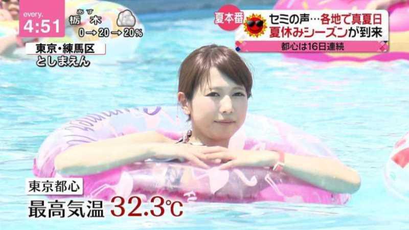 テレビに映ったビキニ素人の水着エロ画像 200